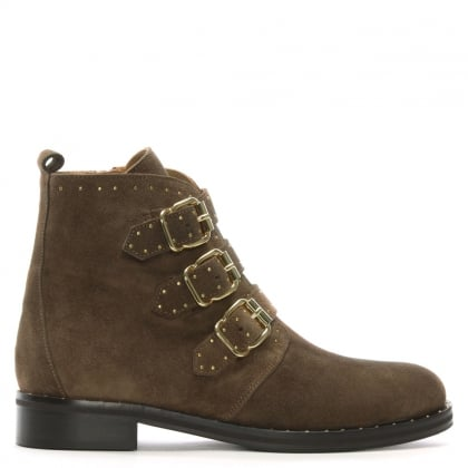 Nibble Taupe Suede Studded Biker Boots