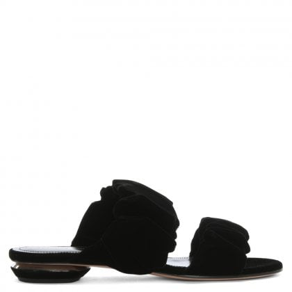 Courtney 18 Ruched Black Velvet Mules