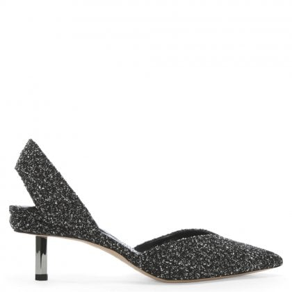 Polly 55 Black & White Boucle Fabric Sling Back Heels