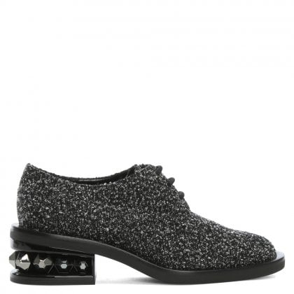 Suzi 35 Black & White Boucle Fabric Derby Brogues