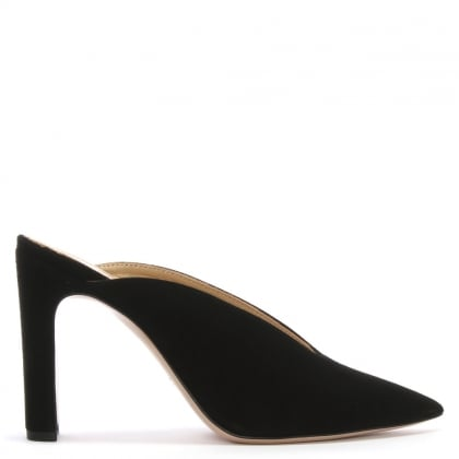 Nickels Black Suede Pointed Toe Mules