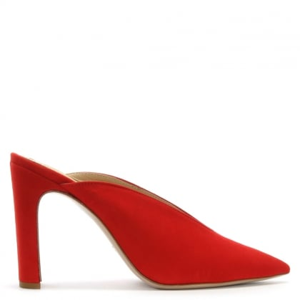 Nickels Red Suede Pointed Toe Mules