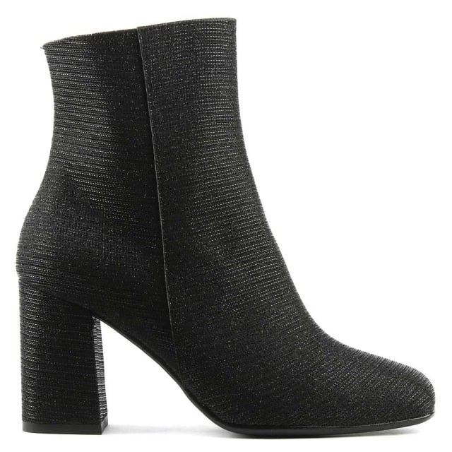 Nickie Black Metallic Mesh Square Toe Ankle Boot