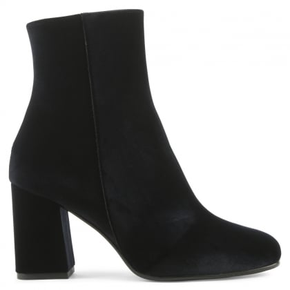 Nickie Navy Velvet Square Toe Ankle Boot