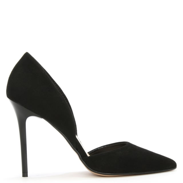 Nicolette Black Suede Two Part Court Shoe