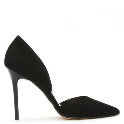 Daniel Nicolette Black Suede Two Part Court Shoe