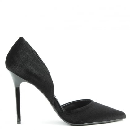 Nicolette Black Velvet Two Part Court Shoe
