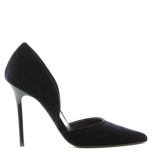 nicolette navy velvet two part court shoe