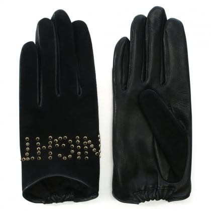 Night Bird Studded Black Suede Gloves