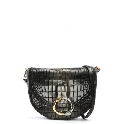 Night Dea Black Reptile Leather Shoulder Bag