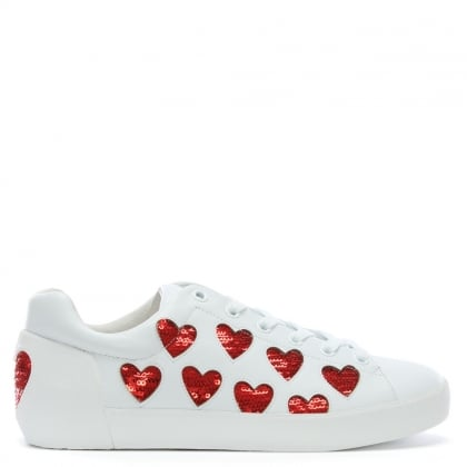 Nikita White Leather Sequin Heart Trainers
