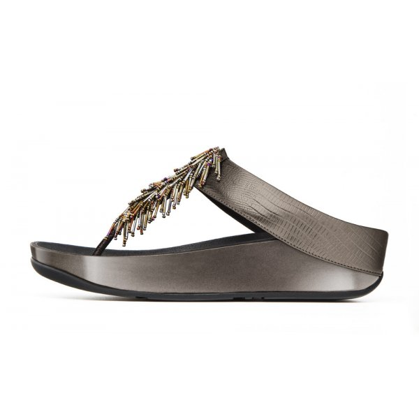 32b89e5f3407ee FitFlop™ Pewter Cha Cha Beaded Women s Flip Flop