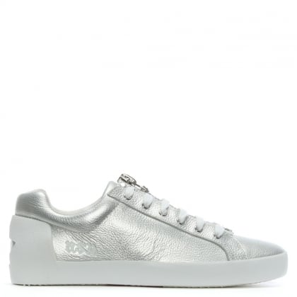Nirvana Silver Leather Zipper Sneakers