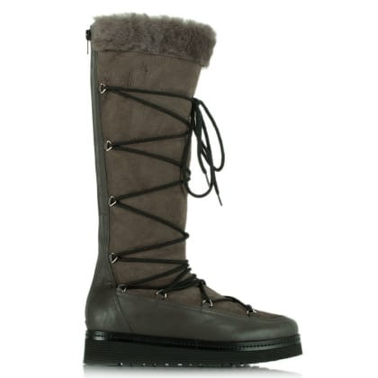 Noble Grey Suede Shearling Lined Knee High Boot
