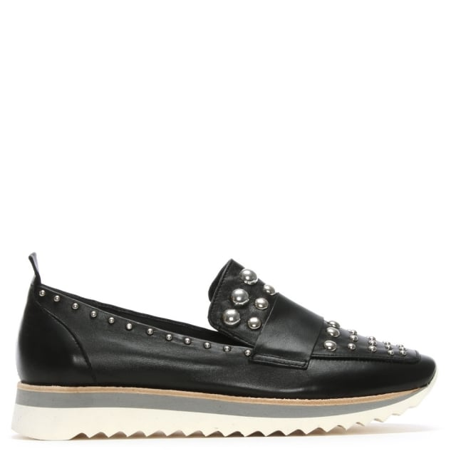 Noosa Black Leather Studded Sporty Loafers