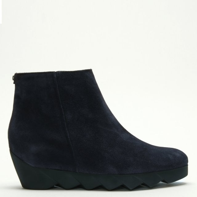 a4ff077ff5e Hogl Nora Navy Suede Serrated Wedge Ankle Boots