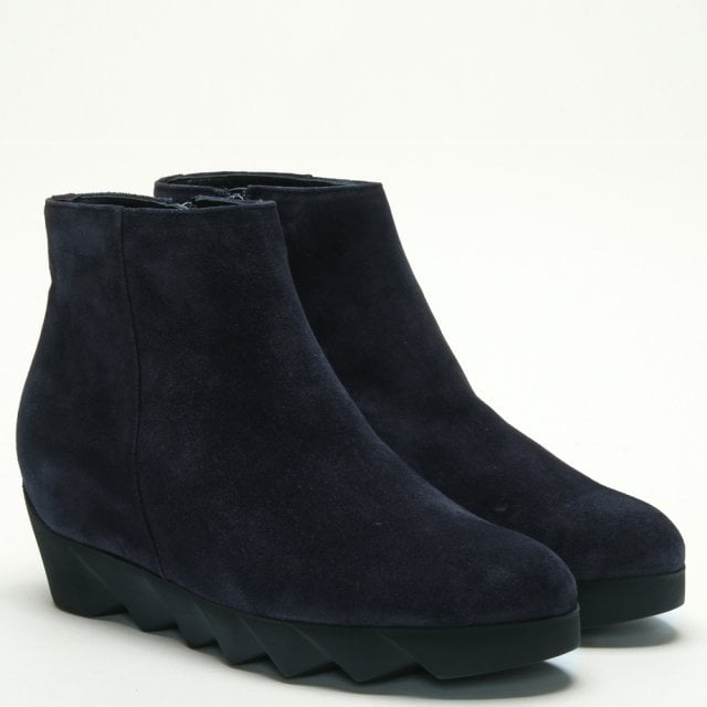 f70a54190bf6 Hogl Nora Navy Suede Serrated Wedge Ankle Boots