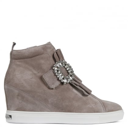 Noreen Taupe Suede Jewelled Wedge High Top Trainers