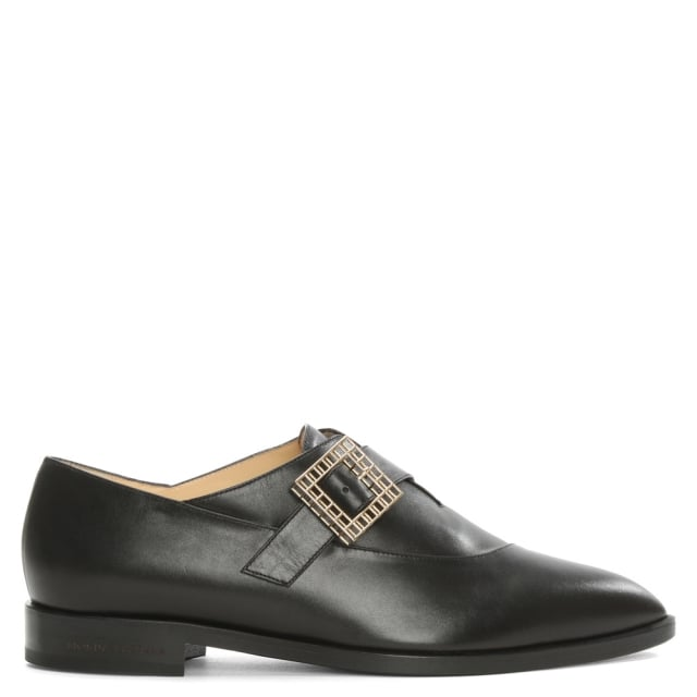 Norma Black Pointed Toe Monk Strap Shoe