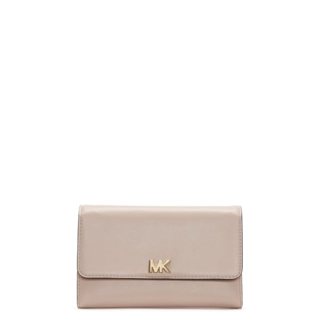 North South Multifunctional Soft Pink Leather Carryall Wallet