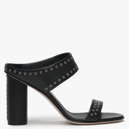 69c81d35defd Notow Black Leather Multi Strap Embellished Mules. Free Standard UK Delivery