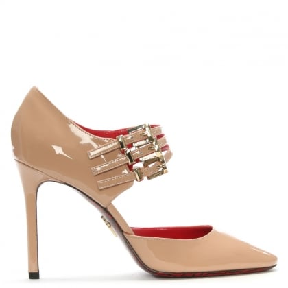 Nude Patent Leather Mary Jane Heels