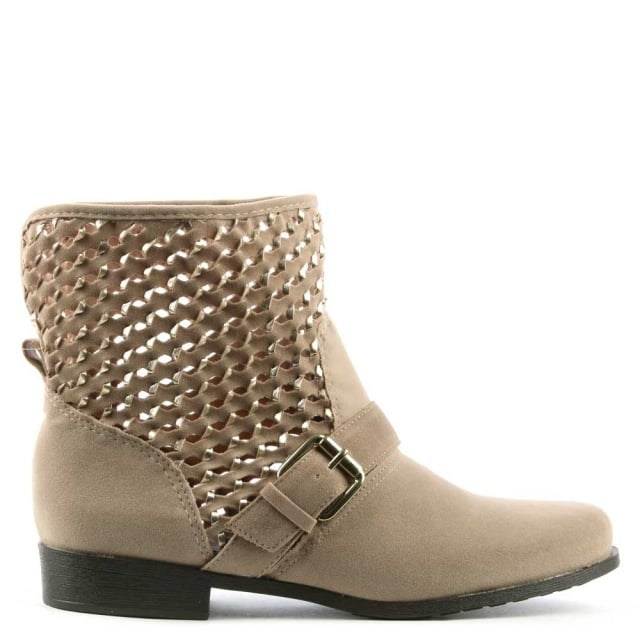 Nude Perforated Ankle Boot