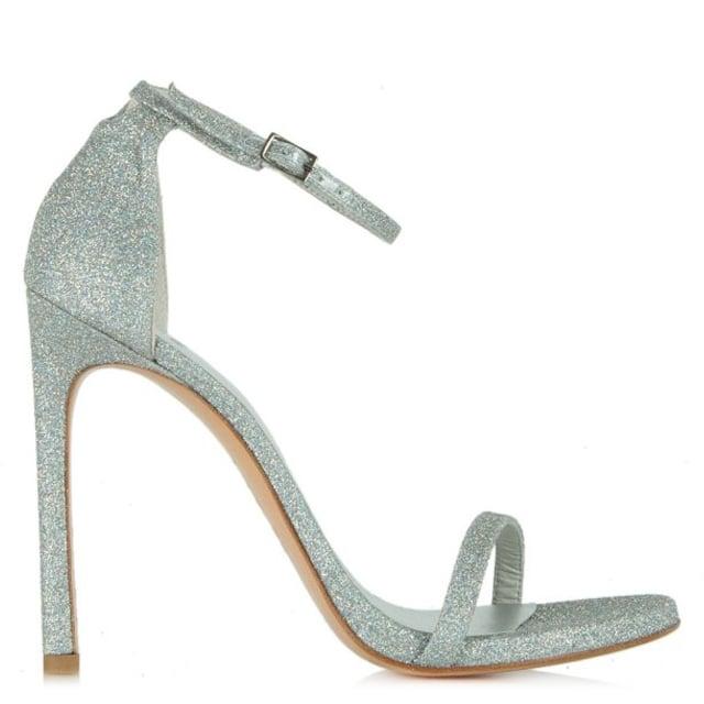 72d7a2d272f0 Stuart Weitzman Silver Glitter Nudist Heeled Sandal