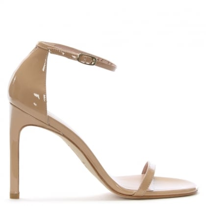 Nudistsong Beige Leather Stiletto Sandals