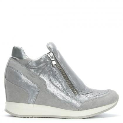 Nydame Silver Leather & Suede Concealed Wedge High Tops