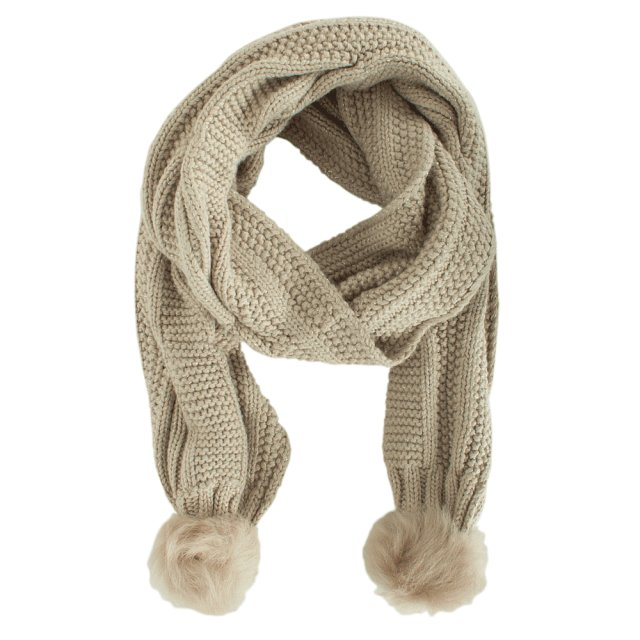 Nyla Beige Wool Cable Scarf