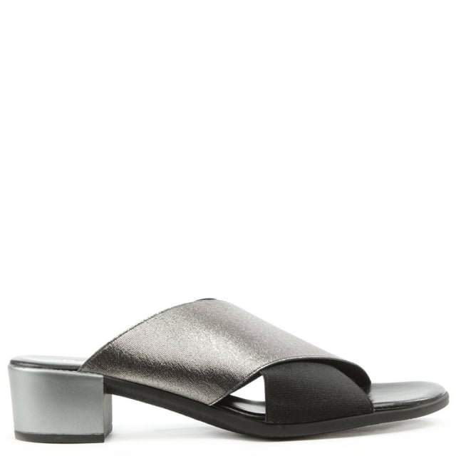 Oak Hill Pewter Metallic Cross Over Elasticated Block Heel Mule