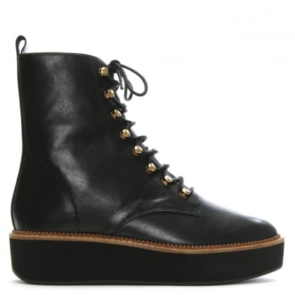Oakwood Black Leather Flatform Hiker Boots