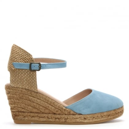 Obi Blue Suede Wedge Espadrilles