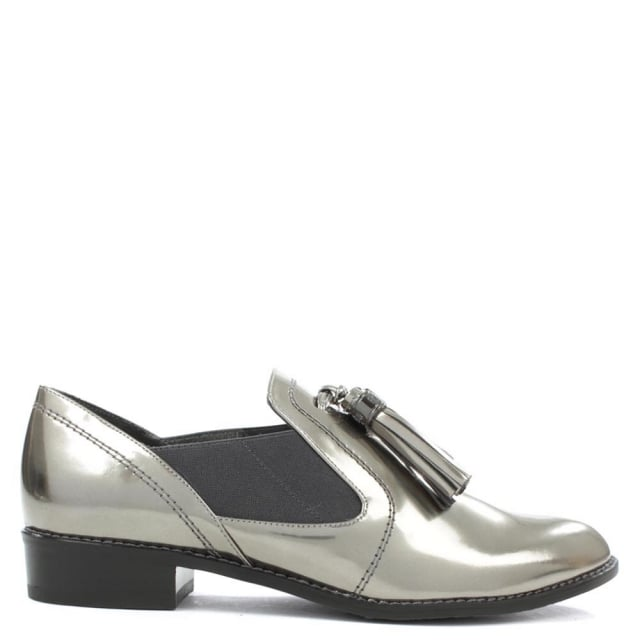 Oh Boy Mirrored Pewter Leather Loafer