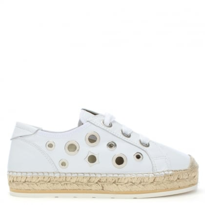Olary White Leather Embellished Lace Up Espadrilles