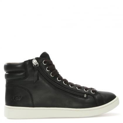 Olive II Black Leather High Top Trainers