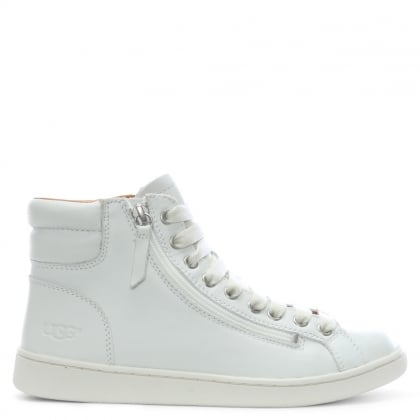Olive II White Leather High Top Trainers