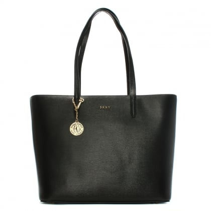 Olive Saffiano Black Leather Large Tote Bag