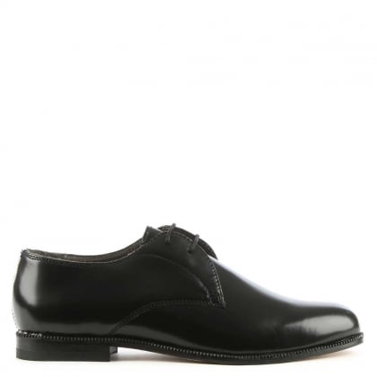 Olivia Black Leather High Gloss Lace Up Derby