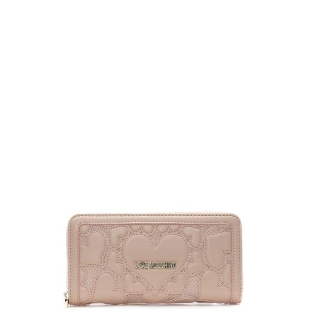 Love Moschino Olivia Pink Zip Around Heart Wallet