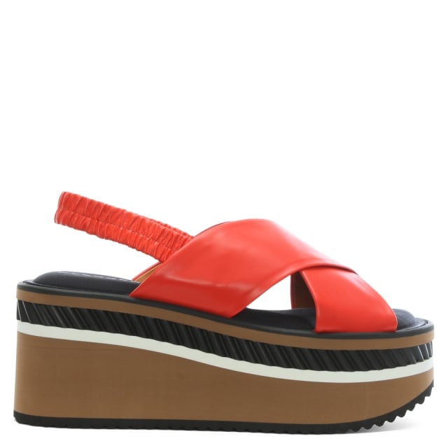 Robert Clergerie Omin Terracotta Leather Flatform Sandals