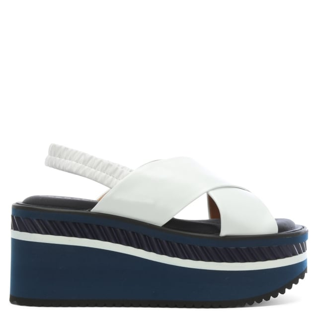 Robert Clergerie Omin White Leather Flatform Sandals
