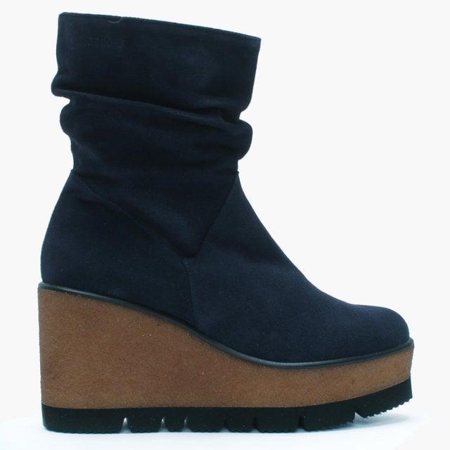 88b96e0616d9 Daniel Footwear. Wonders Opie Navy Suede Ruched Wedge Ankle ...