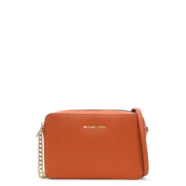 1ec7cb1e2874 Michael Kors Orange Leather Jetset Travel Large EW Crossbody Bag