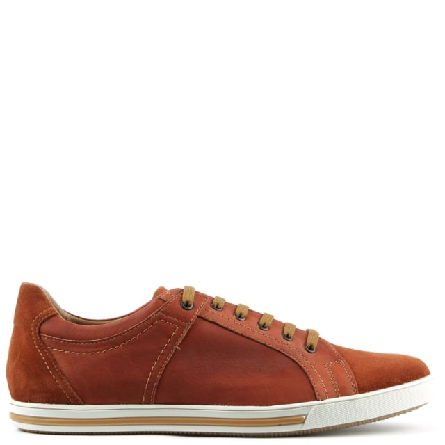 Orange Leather Suede Toe Lace Up Trainer