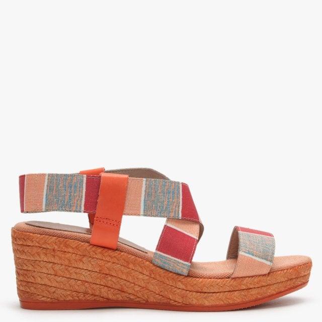 26129a19144 Orange Multicoloured Cross Strap Espadrille Wedge Sandals
