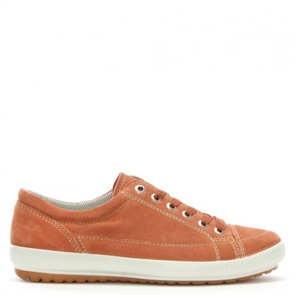 Orange Suede Lace Up Trainers