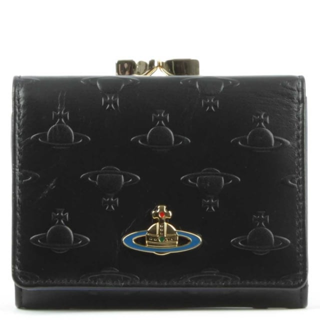 Orbs Black Leather Small Wallet