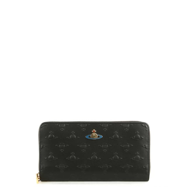 Orbs Black Leather Zip Around Wallet